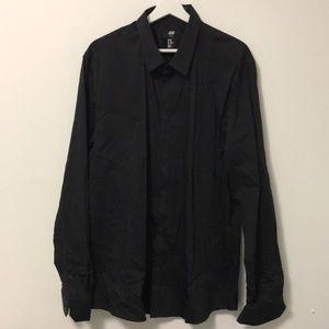 H&M BLACK SLIM FIT STRETCH DRESS SHIRT XXL.